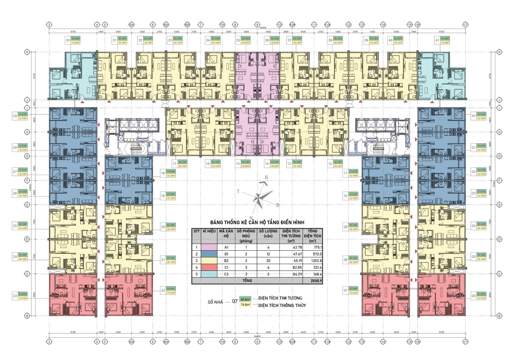 Mặt bằng điển hình Căn hộ Dự án Felice Homes Thuận An lớn